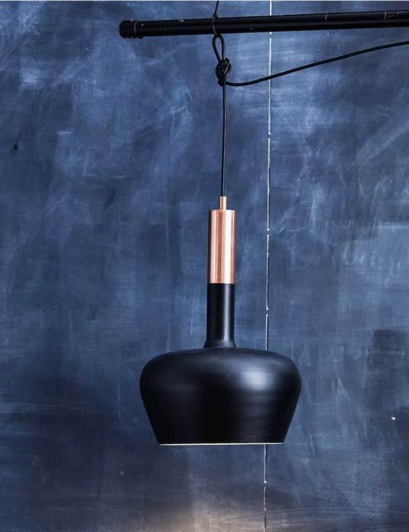 Taklampa återvunnen metall, svart och koppar