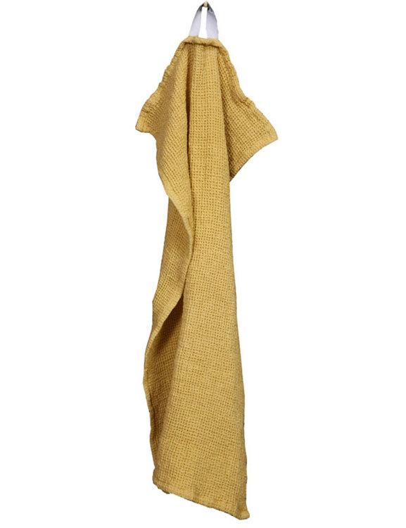 Handduk gul våfflad ekologisk bomull och linne