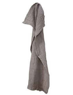 Handduk linne och ekologisk bomull grå/brun