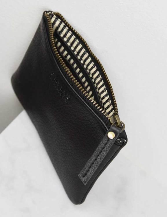 Liten plånbok naturgarvat läder, svart