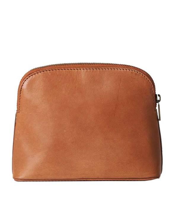 Sminkväska eller liten väska för småsaker, brun av naturgarvat läder