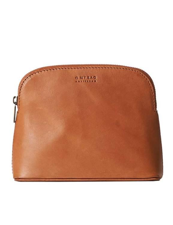 Ljusbrun sminkväska i naturgarvat läder, O My Bag