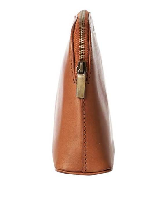 Sminkväska naturgarvat läder cognac