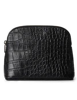 Sminkväska naturgarvat läder svart croco