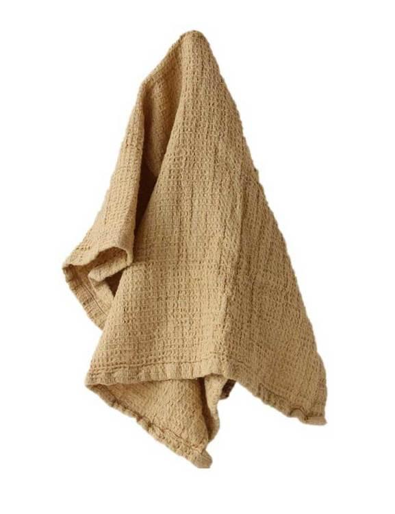 Gul handduk våfflad ekologisk bomull