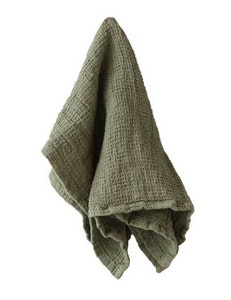 Handduk lin och ekobomull grön