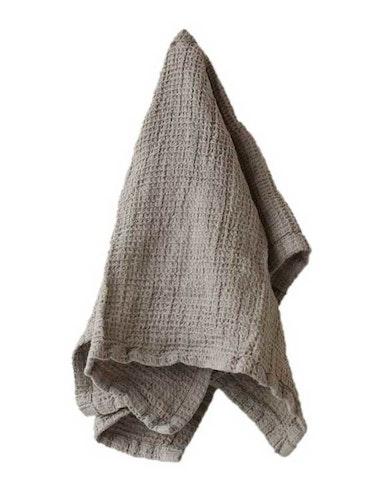 Handduk linne och ekologisk bomull brun