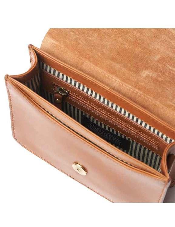 Väska Audrey med extra axelrem, naturgarvat läder