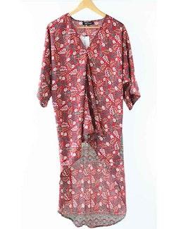 Kimono hi lo blommig återvunna sari