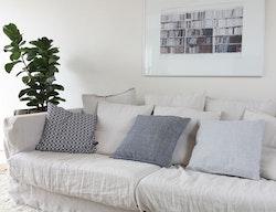 Kuddfodral ljusgrå återvunnen textil