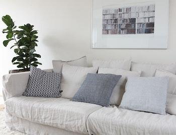 Kuddfodral återvunnen textil, ljusgrå