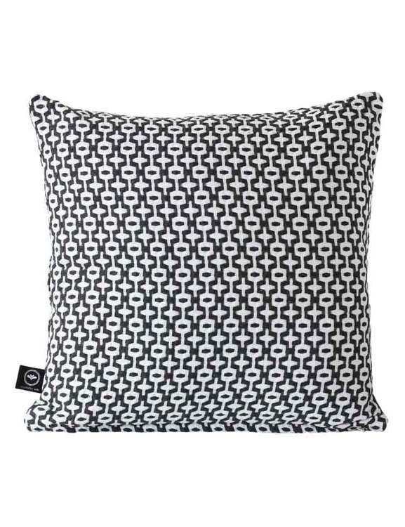 Kuddfodral återvunnen textil, svart/vit
