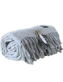 Våfflad pläd återvunnen textil, ljusgrå