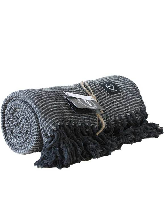 Mörkgrå pläd av återvunna textiliser