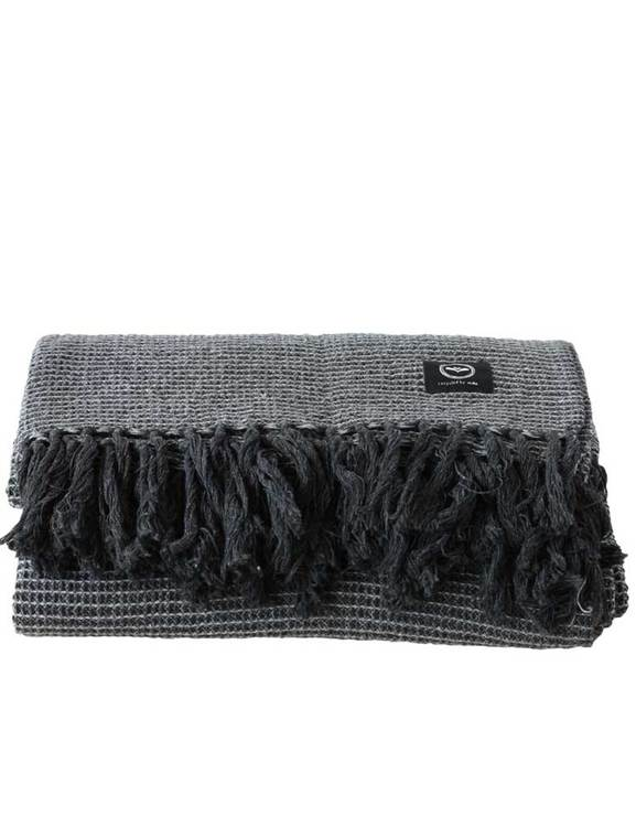 Våfflad pläd återvunnen textil, mörkgrå