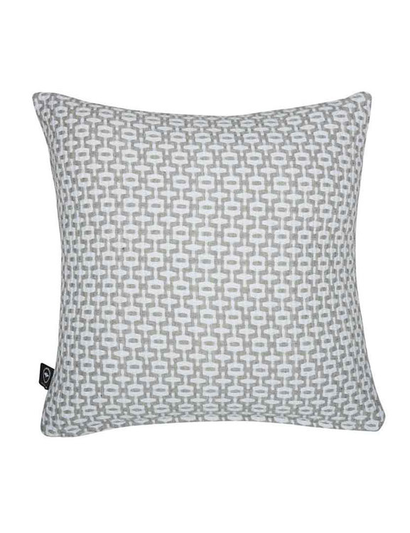 Kuddfodral återvunnen textil, grå/vit