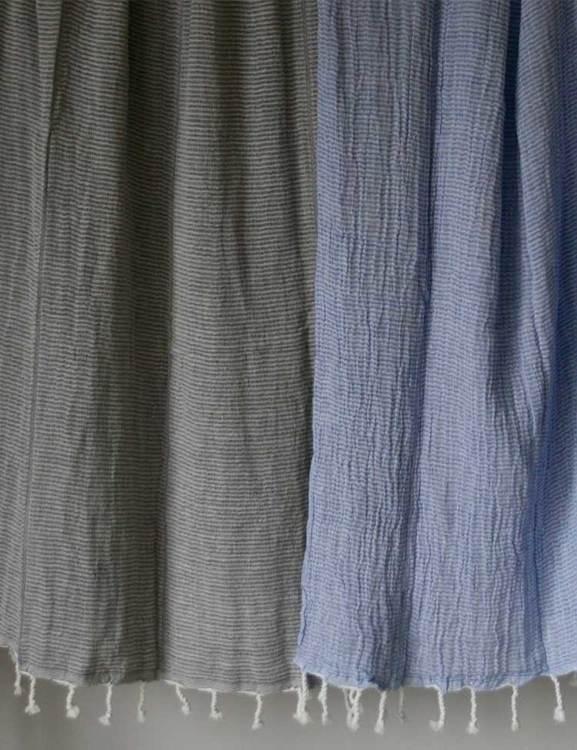 Hamamhandduk ekobomull, krinklad blå