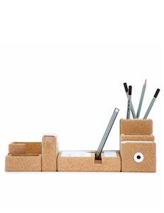 Skrivbordsset i kork och metall