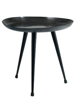 Runt soffbord återvunnen metall, svart
