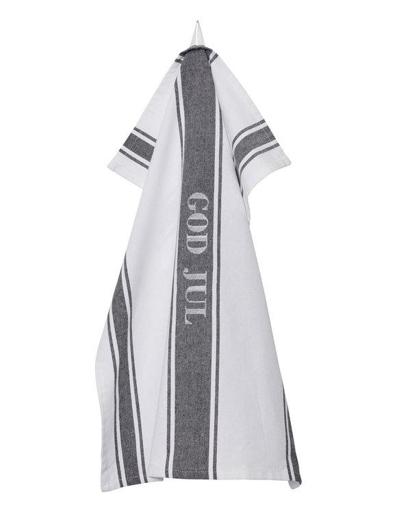 Julhandduk grå-vit randing återvunnen textil