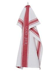 Julhandduk röd-vit, återvunna textilier