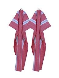 Röd-vit randig handduk 2-pack, återvunna textilier