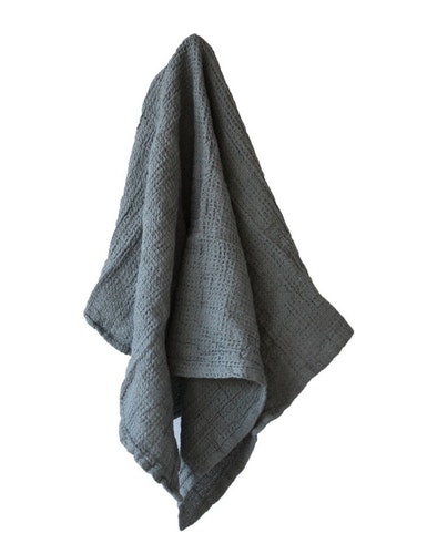 Handduk linne och ekologisk bomull blågrå