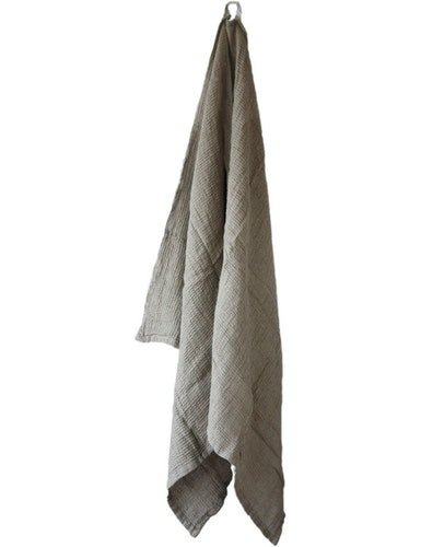 Badhandduk linne och ekologisk bomull brun