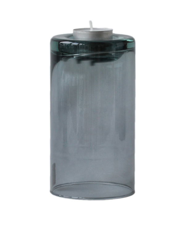 Värmeljushållare av återvunnet glas, två storlekar