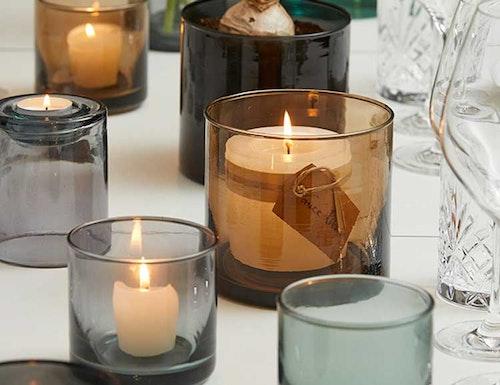 Ljuslykta | skål återvunnet glas, cognac