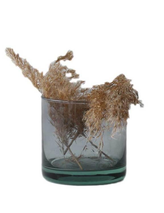 Värmeljushållare eller skål av återvunnet glas, mauve