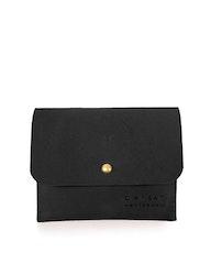 Korthållare med lock, svart naturgarvat läder