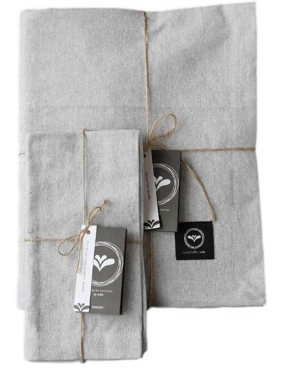 Set duk och servetter ljusgrå återvunnen textil