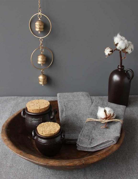 Bordsduk brun av återvunnen textil