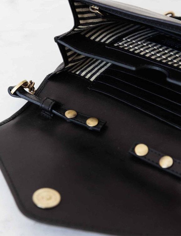Kuvertväska blir till plånbok, naturgarvat läder