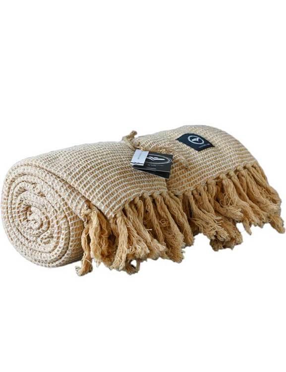 Våfflad pläd linne/beige, återvunna textilier