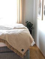 Våfflad pläd återvunnen textil, gul/beige