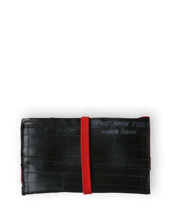 Kortfodral svart återvunnet gummi, ett fack med röd insida