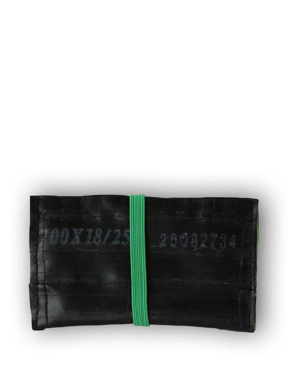 Kortfodral svart återvunnet gummi, ett fack med grön insida