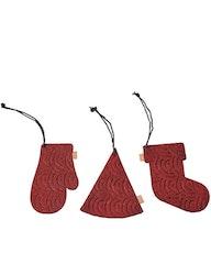 Julpynt i presentask, röda av återvunnet papper