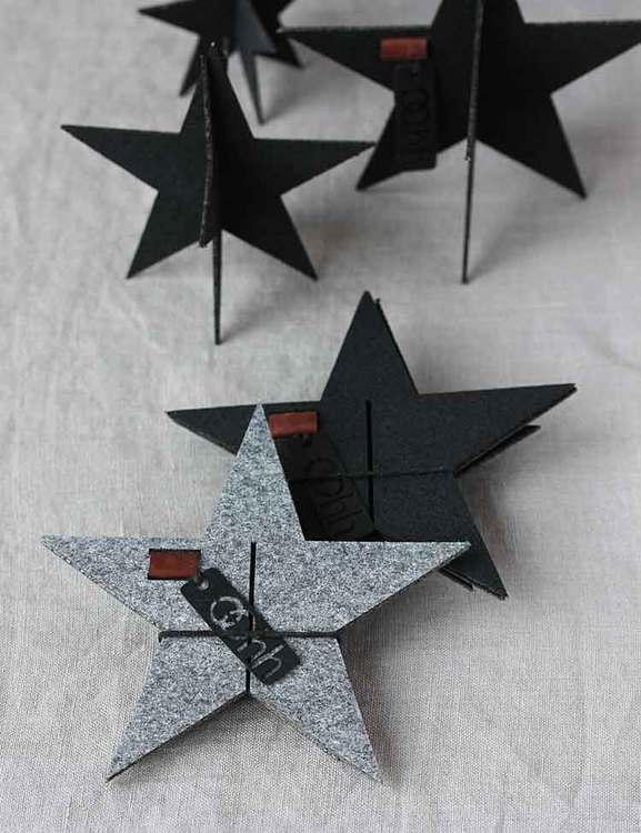 Bordsdekoration grå julstjärnor, återvunnen plast