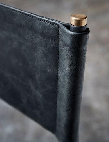 Regissörstol naturgarvat läder, svart