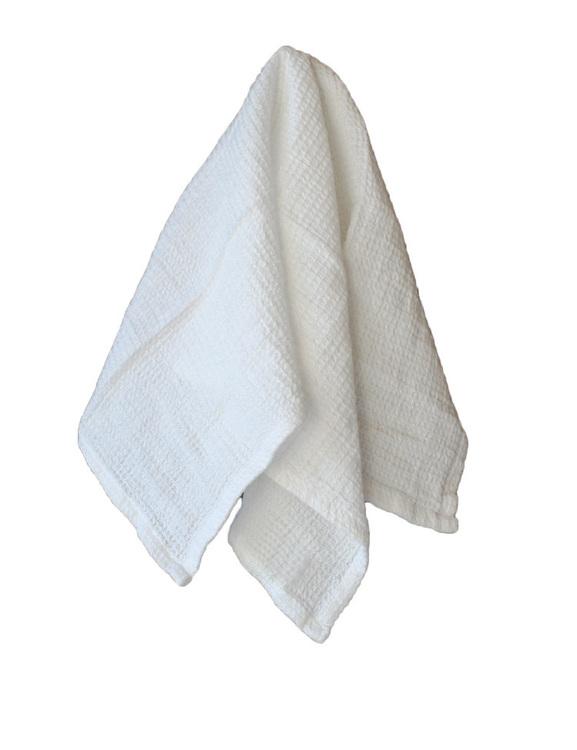 Vit våfflad köks/badhandduk, ekologisk bomull och linne.