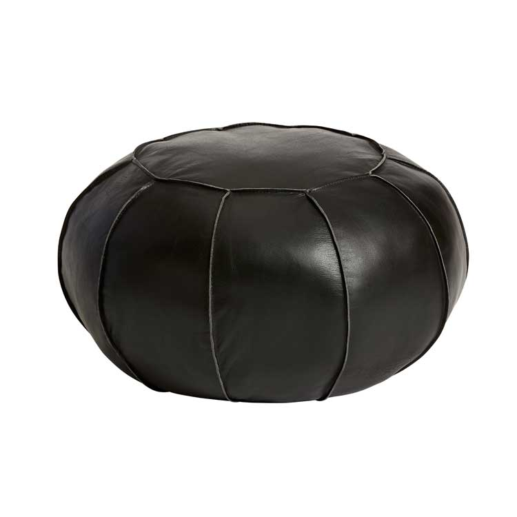 Sittpuff naturgarvat läder, svart