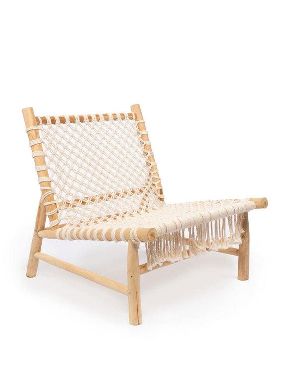 Loungefåtölj trä och bomullsrep