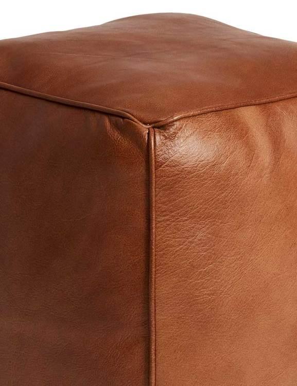 Kubformad sittpuff naturgarvat läder, brun