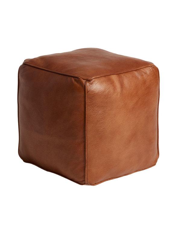 Sittpuff kub, naturgarvat läder