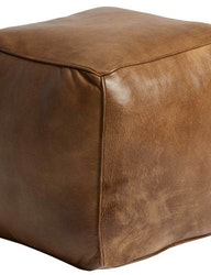 Kubformad sittpuff naturgarvat läder, patina