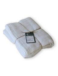 Badhandduk linne och ekologisk bomull vit