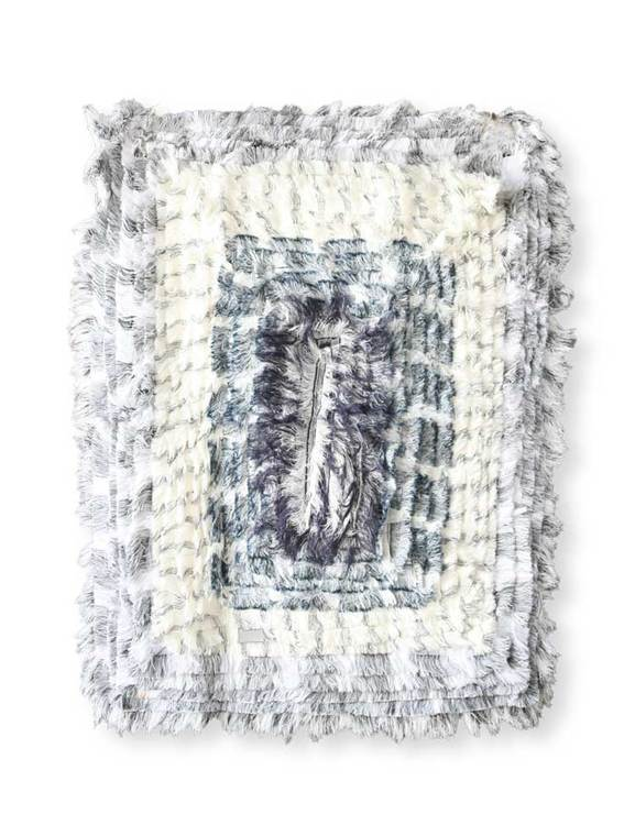 LIten rya blå och vit, återvunnet material